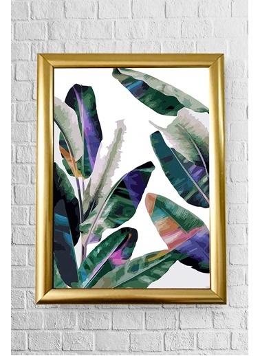 Lyn Home & Decor Renkli Çoklu Yaprak Çerçeveli Poster Tablo 17,5X23,5 Altın